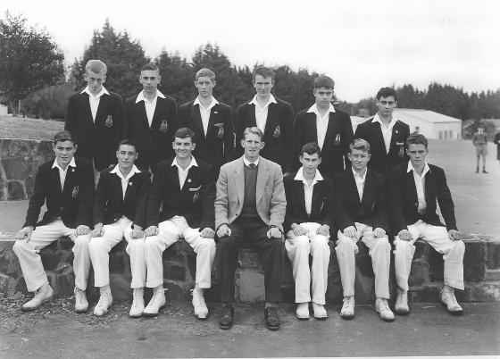 Back Row: G. Scholes, G. Thompson, P. Blunden, K. Duncan, N. Bradbury, M. Stevenson. Front Row: I. White, E. Shade, D. Jenkin (Captain), Mr. Hobill, W. Goodenough, J. Hepburn, A. Smith.
