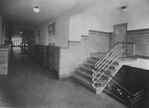 The upstairs school corridor,1946